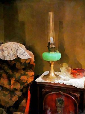 Doily Photograph - Americana - Still Life With Hurricane Lamp by Susan Savad