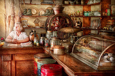 Photograph - Americana - Store - Looking After The Shop  by Mike Savad