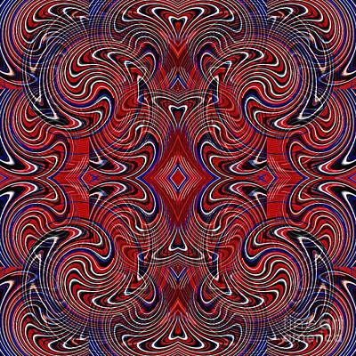 Memorial Day Digital Art - Americana Swirl Design 1 by Sarah Loft