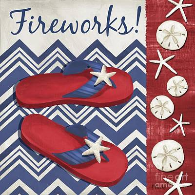 Fireworks Painting - America's Beach II by Paul Brent