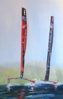 Painting - Americas Cup 2013 Race 19 by Jim Christley