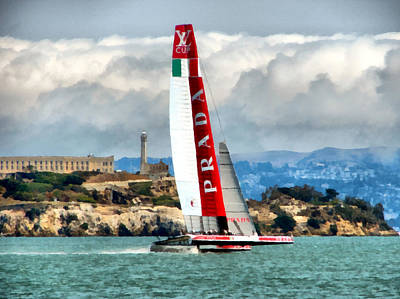 Rocky Digital Art - America's Cup And Alcatraz Ll by Michelle Calkins