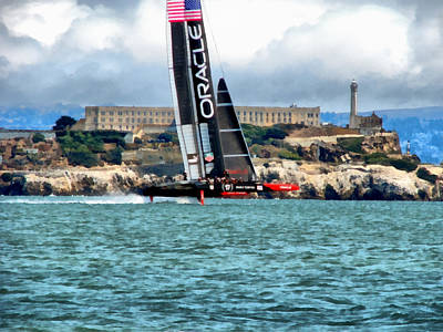 Alcatraz Photograph - America's Cup And Alcatraz by Michelle Calkins