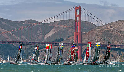 Photograph - Americas Cup Catamarans At The Golden Gate by Kate Brown
