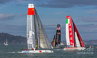Photograph - Americas Cup Catamarans On The Bay by Kate Brown
