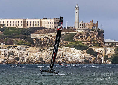 Photograph - Americas Cup Oracle Team And Alcatraz by Kate Brown