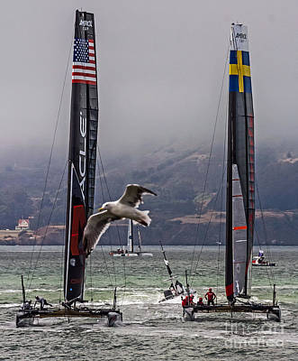 Photograph - Americas Cup Oracle Team Usa V Artemis Racing by Kate Brown