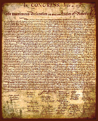 America's Declaration Of Independence  Art Print by Li   van Saathoff