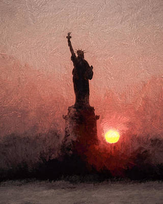 Photograph - Sunset On Liberty by Ike Krieger