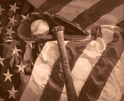 Painting - America's Game In Sepia by Bill Tomsa
