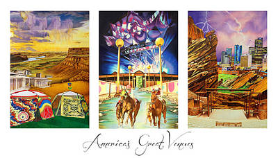 Umphreys Mcgee Drawing - America's Great Venues by Joshua Morton