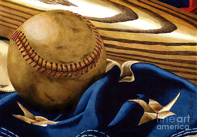 Baseball Memorabilia Drawing - America's Pastime 3 by Cory Still
