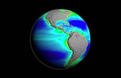 Americas Phytoplankton Levels Print by Nasa/gsfc-svs/seawifs/geoeye