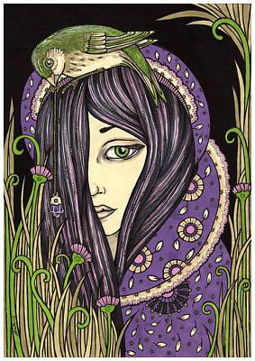 Healing Drawing - Amethyst by Anita Inverarity