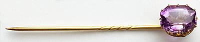 Amethyst (quartz) Tie-pin Art Print by Dorling Kindersley/uig