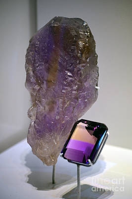 Photograph - Ametrine Rough And Cut Crystal by Shawn O'Brien