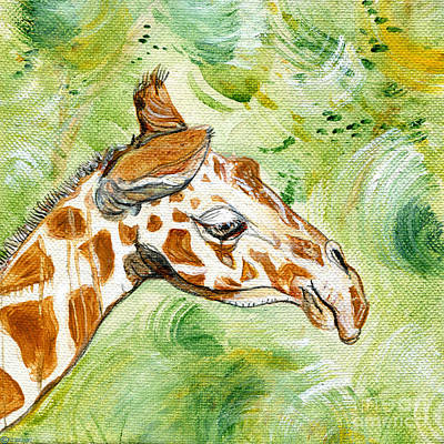 Painting - Amiable Giraffe  by Lizi Beard-Ward