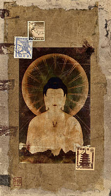 Montage Photograph - Amida Buddha Postcard Collage by Carol Leigh