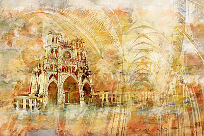 Chartre Painting - Amiens Cathedral by Catf
