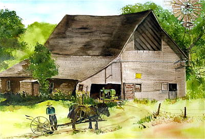 Art Print featuring the painting Amish Barn by Susan Crossman Buscho