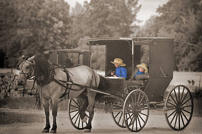 Amish Country Photograph - Amish Boys by Steven  Michael