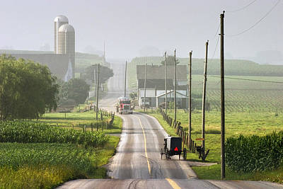 Amish Farms Photograph - Amish Buggy Confronts The Modern World by Randall Nyhof