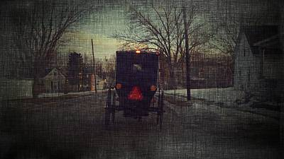 Amish Buggy Photograph - Amish Buggy Daybreak by Michael L Kimble