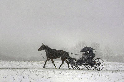 Photograph - Amish Buggy Ride In The Snow by Gene Walls