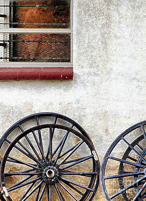 Photograph - Amish Buggy Wheels by Polly Peacock
