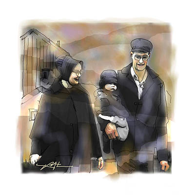 Art Print featuring the drawing Amish Family by Bob Salo