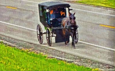 Amish Family In Horse And Buggy Art Print