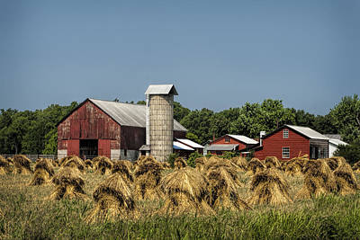 Amish Farm Wheat Stack Harvest Art Print by Kathy Clark