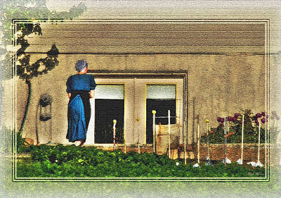 Photograph - Amish Lady And Her Garden by Dyle   Warren