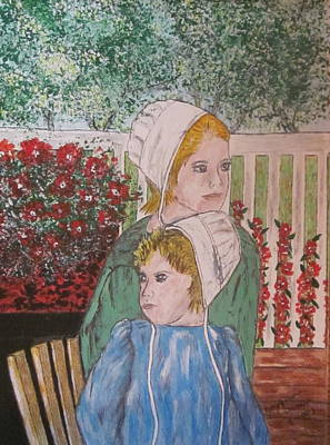 Painting - Amish Girls by Kathy Marrs Chandler