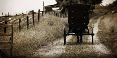 Country Scene Photograph - Amish Horse And Buggy by Dan Sproul