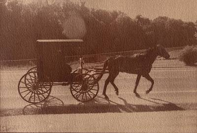 Horse And Buggy Mixed Media - Amish Horse And Carriage by Scott Wittenburg