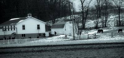 Barns In Snow Photograph - Amish In Ohio by Dan Sproul