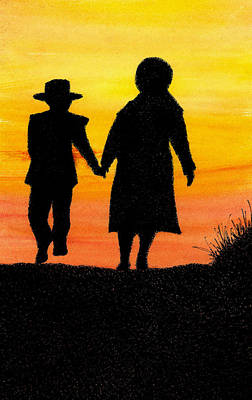 Amish Mother And Son Art Print by Michael Vigliotti