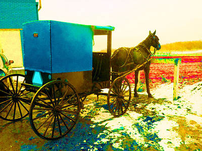 Amish Farms Digital Art - Amish Parking Only by Joseph Wiegand