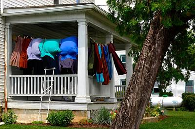 Photograph - Amish Puffy Laundry On Porch by Tana Reiff