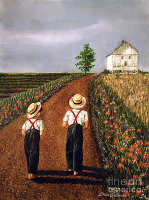 Painting - Amish Road by Linda Simon