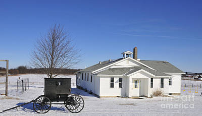 Photograph - Amish School And Buggy by David Arment