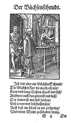 Display Window Painting - Amman Gunsmith, 1568 by Granger