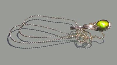 Ammolite Jewelry - Ammolite Sterling Silver Pendant Necklace Ball Chain by Robin Copper