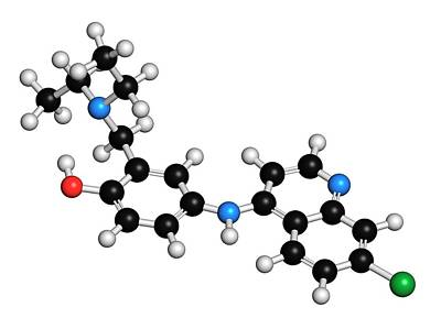 Amodiaquine Anti-malarial Drug Molecule Art Print by Molekuul