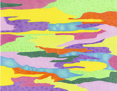 Abstract Shapes Drawing - Amoeba Mardi Gras by Diana Hrabosky