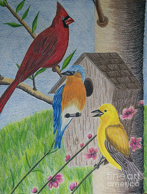 Drawing - Among Friends by Cecilia Stevens