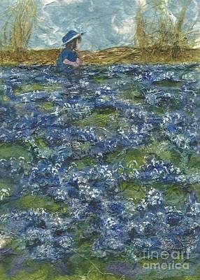 Among The Blue Bonnets Art Print by Lynn Babineau