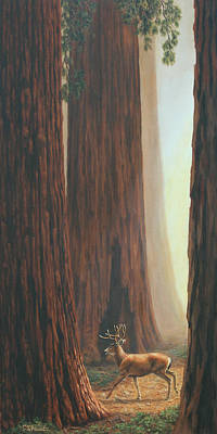 Stags Painting - Sequoia Trees - Among The Giants by Crista Forest