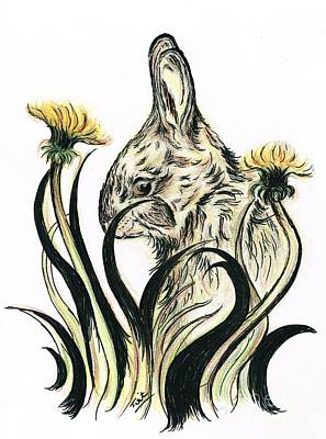 Drawings Royalty Free Images - Rabbit- Amongst the Dandelions Royalty-Free Image by Teresa White